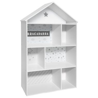 Bibliothèque enfant maison grise