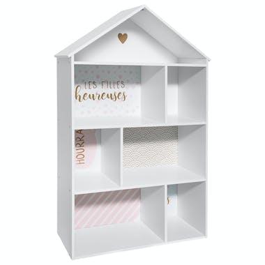 Bibliothèque enfant maison rose
