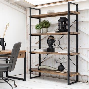 Bibliotheque etagere en bois recycle FSC et metal style industriel