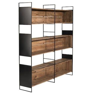 Bibliothèque étagère bois recyclé pin 3 niches CRACOVIE