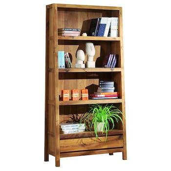 Bibliotheque etagere en bois avec tiroir de style campagne