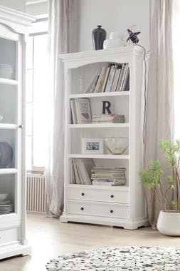 Bibliotheque etagere en bois blanc de style bord de mer