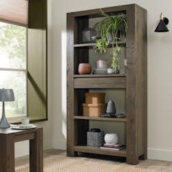 Bibliothèque étagère en bois de chêne fumé ALLEN