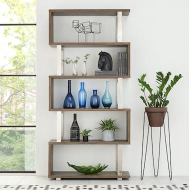 Bibliothèque étagère en chêne et métal brossé RIMINI
