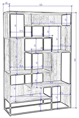 Etagere bibliotheque destructuree bois recycle et metal de style contemporain