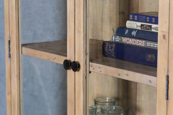 Bibliothèque étagère vitrée en bois recyclé AUCKLAND