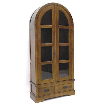 Bibliothèque ogive 2 portes 2 tiroirs hévéa 86X180cm TRADITION