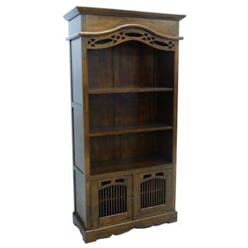 Bibliothèque ouverte Hévéa 2 portes, 3 niches étagères 96.6x44.8x195cm MAORI