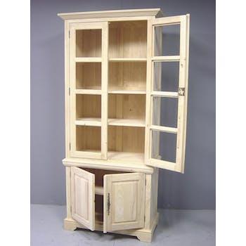 Bibliothèque vitrée 4 portes hévéa 90x45x205cm TRADITION