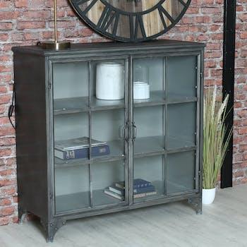 Bibliothèque vitrée métal