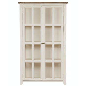 Bibliotheque vitrine en bois blanc recycle FSC style bord de mer