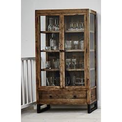 Bibliothèque vitrine bois recyclé BRISBANE