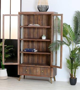 Bibliotheque vitrine en bois fonce recycle FSC de style contemporain