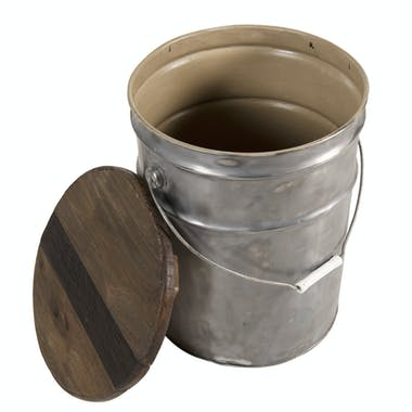 Bidon tabouret bois recyclé acier JODHPUR