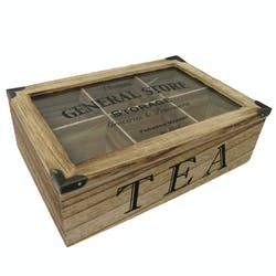 """Boite à thé 6 compartiments """"Vintage General Store"""" en bois 21x17cm"""