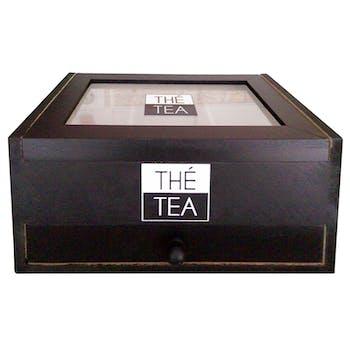Boite à thé ou capsule noir et blanc 22x14x10cm