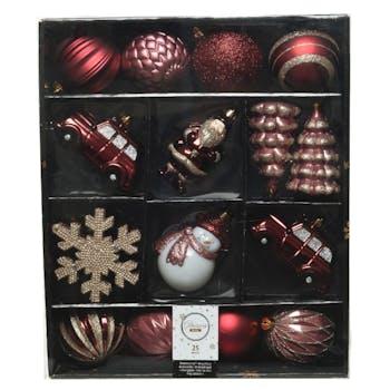 Boite de 25 décors de Noël ton rouge doré