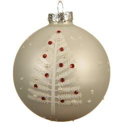 Boite de 3 boules blanches décor arbre de Noël