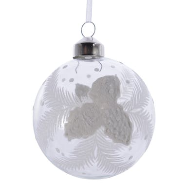 Boite de 3 boules blanches décor feuilles de Noël
