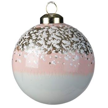 Boite de 3 boules de Noël enneigées rose