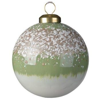 Boite de 3 boules de Noël enneigées vert