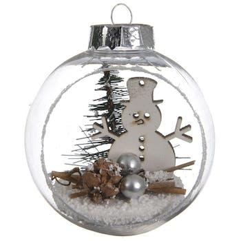 Boite de 3 boules de Noël ouvertes décor bonhomme de neige
