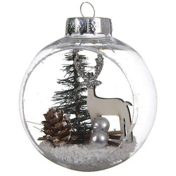 Boite de 3 boules de Noël ouvertes décor renne
