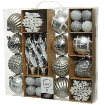 Boite de 50 décors de Noël tons argentés