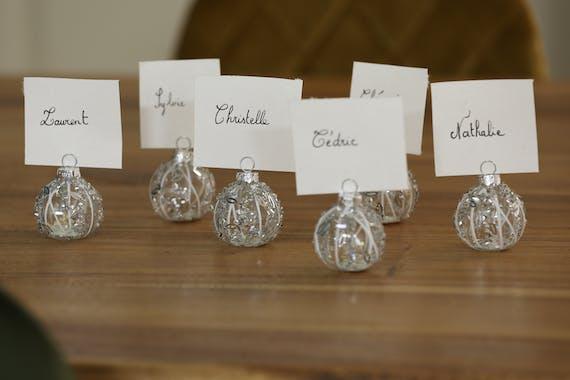 Boite de 6 boules porte-carte argentées