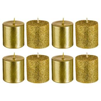 Boite de 8 bougies votives dorées paillettées