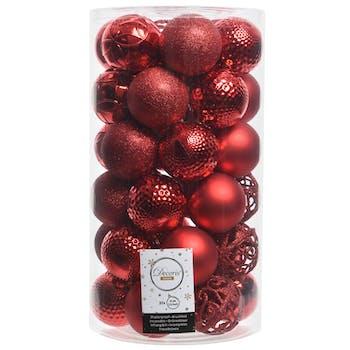 Boite de boules de Noël rouges assorties