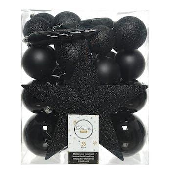 Boite décoration Noël dominante noire 33 pièces