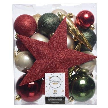 Boite décoration Noël dominante rouge 33 pièces