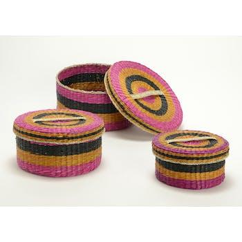 Boite ronde fibre colorée dominante fuschia petit modèle