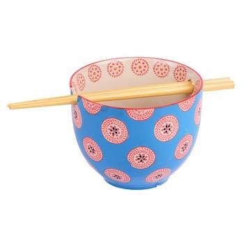 Bol décoré bleu avec baguettes