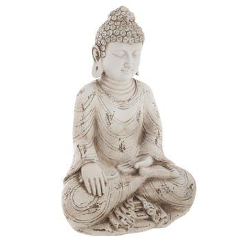 Bouddha assis en résine beige 20x15x31cm
