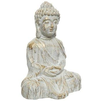 Bouddha assis en résine blanc cassé