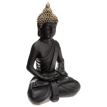 Bouddha assis méditation noir et doré 39,5 cm
