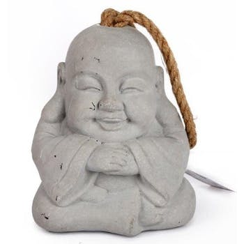 Bouddha bloque-porte en ciment grisé et poignée corde 12.5x10x16cm