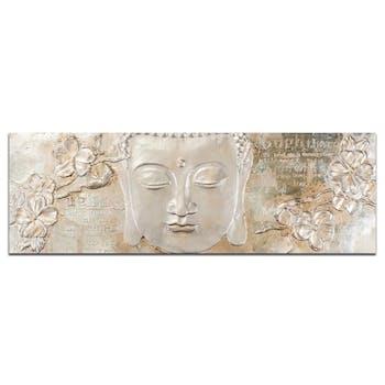 BOUDDHA Tableau Zen 3D panoramique Blanc Acrylique 150x50