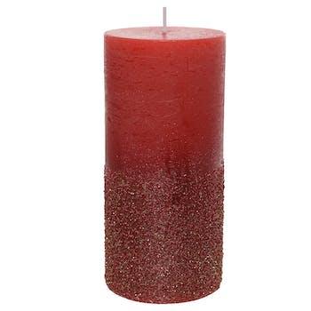 Bougie cylindre rouge bordeaux pailletté