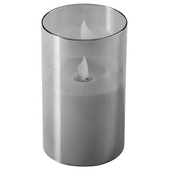 Bougie grise flamme LED 12,5 cm