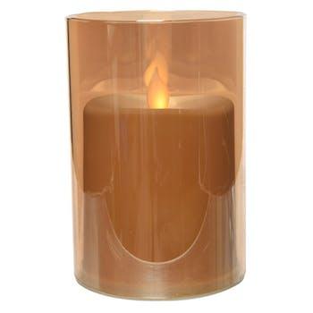 Bougie LED flamme effet vacillant en verre doré 12cm
