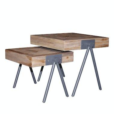 Bout de canapé bois de teck recyclé forme carrée (2 pièces) JAVA