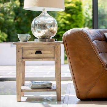Bout de canapé bois recyclé clair pieds droits SALERNE