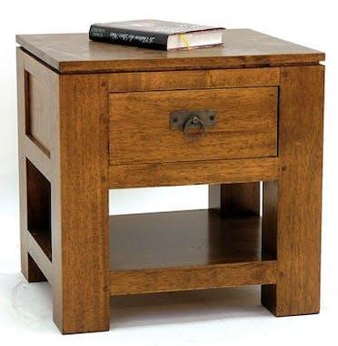 Bout de canapé chevet 1 tiroir hévéa 45x40x45cm HELENA