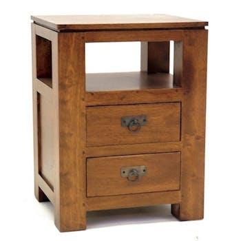 Bout de canapé chevet 2 tiroirs hévéa 45x60cm HELENA