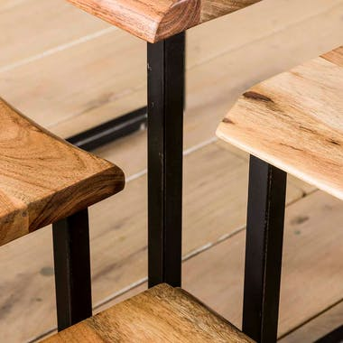 Bout de canapé en bois massif bordures naturelles MELBOURNE