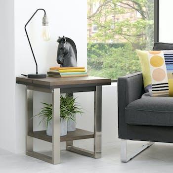 Bout de canapé en chêne et métal brossé RIMINI