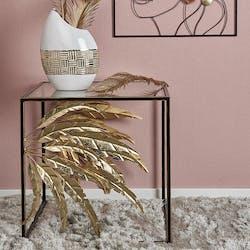 Bout de canapé en métal gerbes noir et or